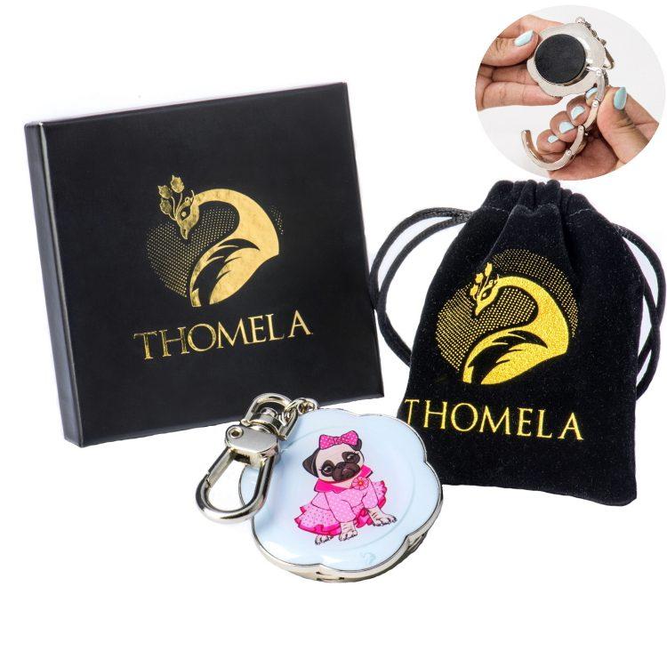 """THOMELA Mops Taschenhalter - Edelstahl verstärkt - Geschenkbox - Taschenhaken """"Benita"""" (Türkis) Geschenkidee Neuheit Hundeliebhaber Handtaschenhalter"""