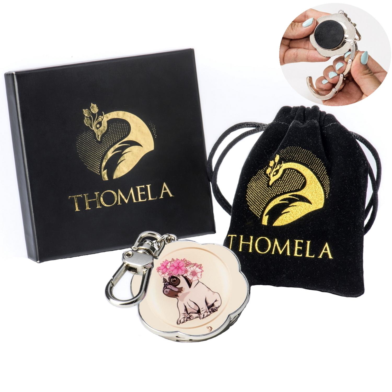 THOMELA Mops Taschenhalter – Edelstahl verstärkt – Geschenkbox – Taschenhaken «Benita» (Beige)